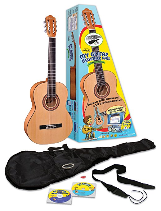 8/eMedia My Guitar Beginner Acoustic Guitar Pack for Kids, 3/4 Size, 34
